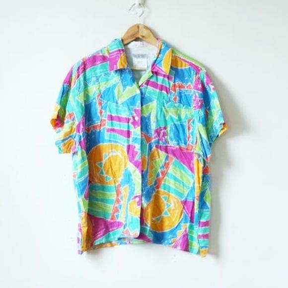 efa5ad9a50810 Vintage 80s Esprit Tropical Button Up Shirt